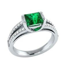 0.90 ct Natural Emerald & Certified Diamond Solid Gold Wedding Engagement Ring