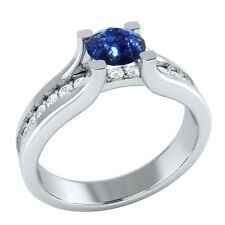 0.95ct Natural Sapphire & Authentic Diamond Solid Gold Engagement Ring