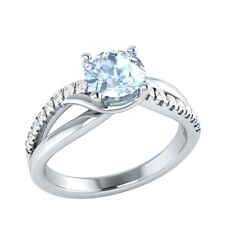0.80 ct Natural Aquamarine & Certified Diamond Solid Gold Engagement Ring