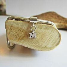 Initial 'M' Sterling Silver European-Style Charm and Bracelet- Free Shipping