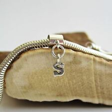 Initial 'S' Sterling Silver European-Style Charm and Bracelet- Free Shipping
