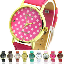 Womens Girl's Classic Geneva Dot Print Leatheroid Analog Quartz Wrist Watches
