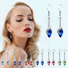 1Pair Fashion Women White Gold Plated Crystal Drop Dangle Earrings Hook Jewelry