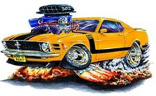1970 Ford Mustang Boss 302 Muscle Car-toon Art Tshirt NEW