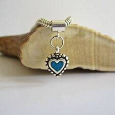 Turquoise Beaded Sterling Silver Heart European-Style Charm & Bracelet-Free Ship