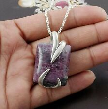 Natural Ruby Zoisite Gemstone Rectangle 925 Sterling Silver Pendant