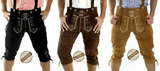 MENS KNEE LENGTH GERMAN BROWN BAVARIAN LEDERHOSEN OKTOBERFEST ALL SIZES 30 TO 46