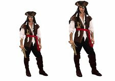 Mens or Woman Caribbean Pirate Captain Costume Adult Fancy Dress Outfit