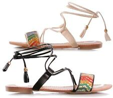 New Womens Strappy Gladiator Lace Up Aztec Flat Ladies Shoes Summer Sandals 3-8