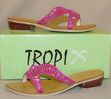 MANGOS all leather sequined sandals slides 7.5  NIB pink yellow