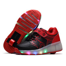 Boys Girls LED Light Shoes With Wheels Roller Skate Shoes Heelys Kids Sneakers