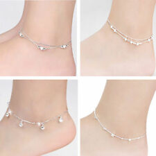 Women Silver Plated Chain Anklet Bracelet Barefoot Sandal Beach Foot Jewelry