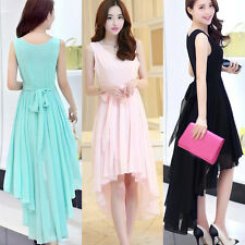 Women Sexy Summer Loose Sleeveless Irregular Hem Skirt Chiffon Long Maxi Dress