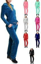 Basic VELOUR TRACKSUIT Zip Hoodie Jacket and Flare Pants Set S ~ L