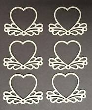 ORNATE HEART FRAME & HEART - Wood OR Sticker Card Craft Shapes 3,5,8,12,15cm