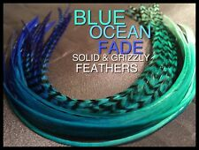 Feather Hair Extensions Blue Ombre Fade Feathers Optional Tools Beads Kits
