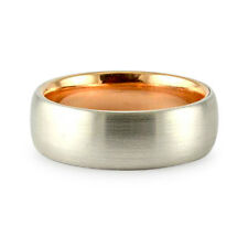 7MM TWO TONE 14K WHITE ROSE GOLD BRUSHED COMFORT FIT WEDDING BAND RING