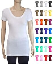 Basic Stretchy Cotton Blend Scoop-Neck Short Sleeves Long Length Tee Shirt S ~XL