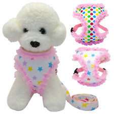 Lace Mesh Dog Puppy Vest Harness & Leash Set Cute for Small Dogs Teddy Yorkie