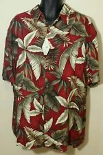 NEW! Red Gold Hawaiian Tropical Fronds Rayon Shirt ISLAND SHORES Sz XXL L XL