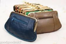 New Ladies Soft Leather Ball Snap Clasp 2 Zips Purse Clutch /Coin Bag Wallet