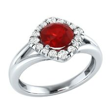 0.75ct Real Ruby & Authentic Diamond Solid Gold Wedding Engagement Ring