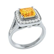 1.50ct Natural Citrine & Certified Diamond Solid Gold Wedding Engagement Ring