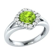 0.75 ct Natural Peridot & Certified Diamond Solid Gold Wedding Engagement Ring