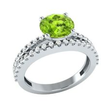 1.80 ct Natural Peridot & Certified Diamond Solid Gold Wedding Engagement Ring