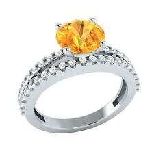1.80 ct Natural Citrine & Certified Diamond Solid Gold Wedding Engagement Ring