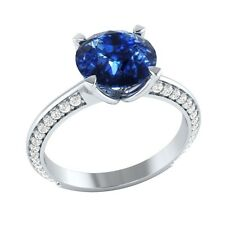 2.25 ct Natural Sapphire & Natural Diamond Solid Gold Wedding Engagement Ring