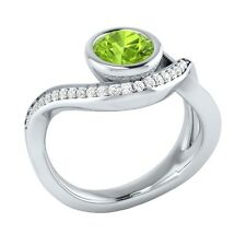 0.75ct Natural Peridot & Certified Diamond Solid Gold Wedding Engagement Ring