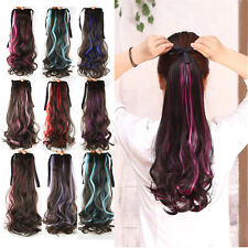 "Women Girls 21"" Party Casual Long Wavy Hair Curly Wig Ponytail Tying Colorful 53"