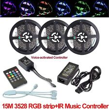 10M 15M LED Strip RGB with Music Controller IR SMD 3528 Lights Tape kit + Power