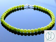 Green Mashan Jade Natural Gemstone Necklace 8mm Beaded Silver 16-30inch Healing