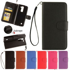 Luxury Flip Leather Wallet Card Slot Kickstand W/ Strap Case Cover For LG Series