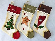 Personalised Embroidered Vintage Christmas Stocking Custom child's TREE HEART