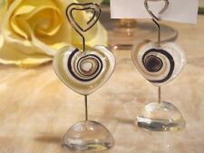 6 Murano Art Deco Heart Name/Memo Note Wedding Place Cards Holders Favors Gifts