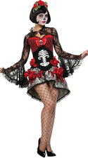 Adult Womens Mexican Day Of The Dead Senorita Corset Fancy Dress Costume Outfit