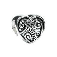 Sterling Silver Love Mom Mother Heart Bead for European Charm Bracelets