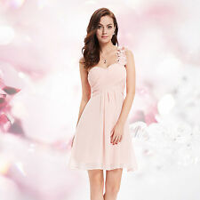 One Shoulder Flowers Padded Ruffles Short Bridesmaid Party Homecoming Gown Dress