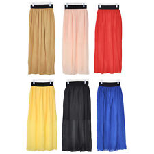 Cfly889 New Ladies Chiffon Pleated Elastic Waist Skirt Long Dress 5 Colors