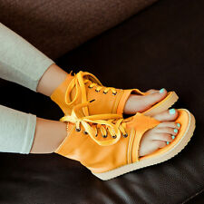 Women Leather Lace Up Flat Creeper Gladiator Ankle Boots Thong Sandal  AU