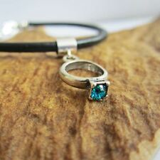Aqua Birthstone Engagement Ring European-Style Charm and Bracelet- Free Shipping