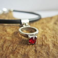 Garnet Birthstone Engagement Ring European-Style Charm and Bracelet- Free Ship