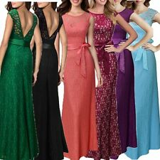 Sexy Lady Lace Split Long Maxi Chiffon Evening Formal Party Dress Prom Gown