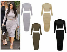 Womens Ladies Celeb Kim Kardashian Polo Crop Top Ruched Midi Skirt Co-Ord Set