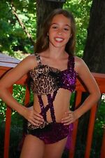Purple leopard custom competition dance costume, pageant, rhinestones, CL
