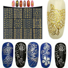 Hot SALE Metallic Gold 3D Nail Art Stickers Decals Flower Manicure Decora Tools