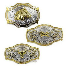 Men Vintage Metal Big Bull Horse Rider Rodeo Belt Buckle Cowboy Texas Western S